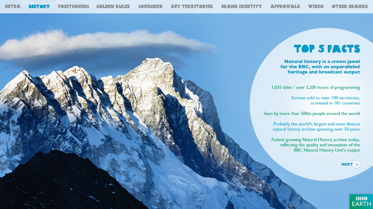 BBC Earth interactive Brandbook screen shot