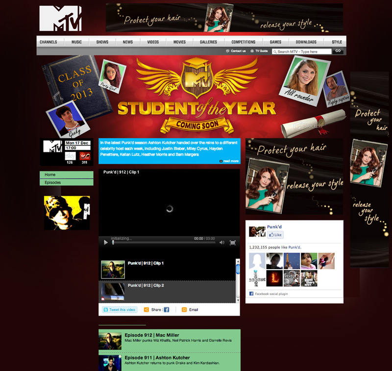 student of the year mtv web design