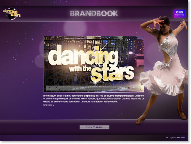 Dancing with the Stars Screen shot design intro text page