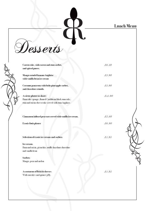 menu printed design