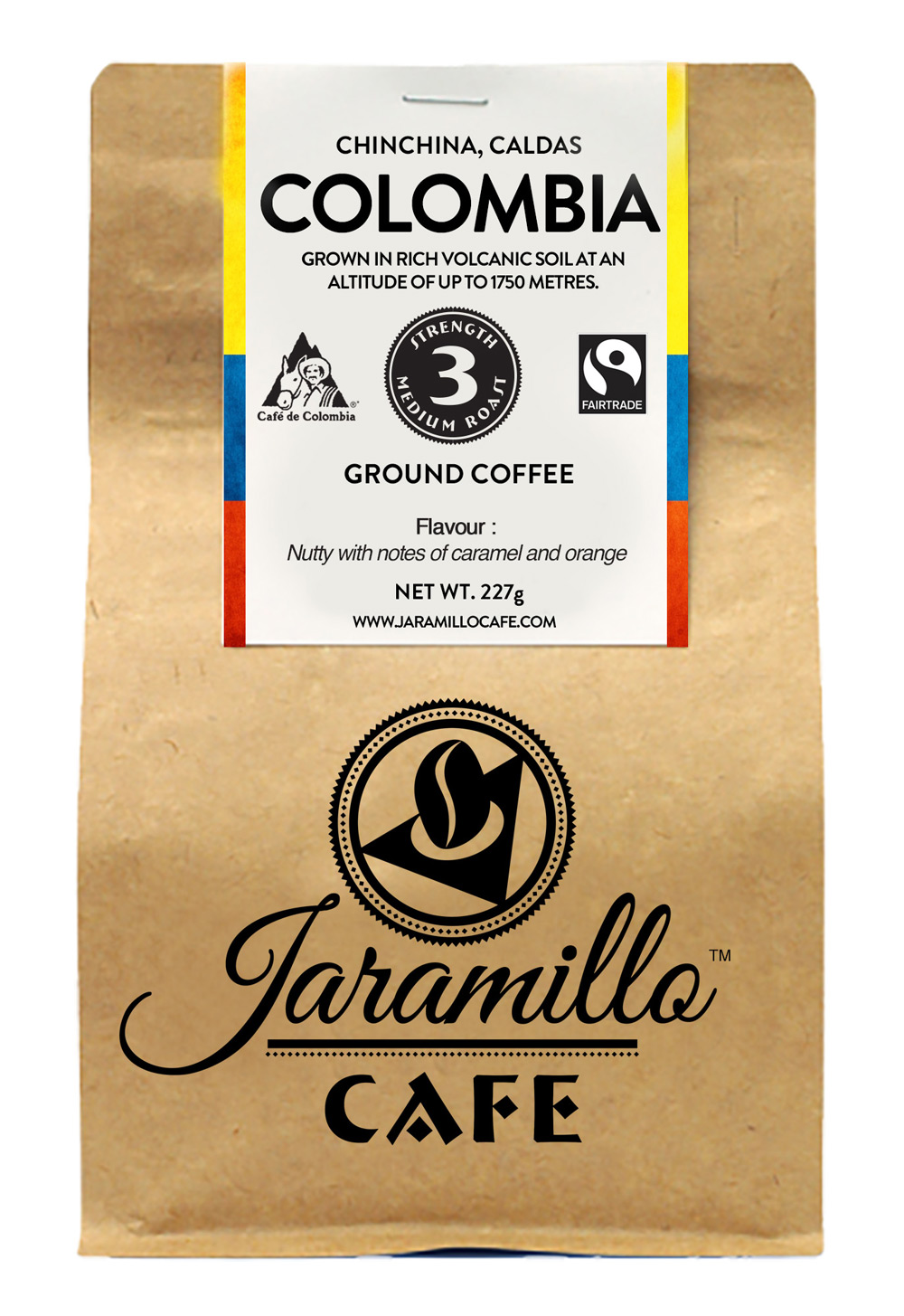 Jaramillo full bag rendering coffee beans packaging design
